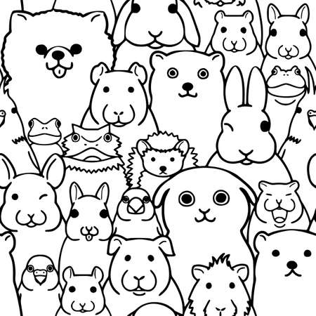 Seamless doodle pet animals faces line art background