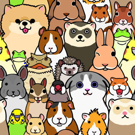 Seamless doodle pet animals faces colorful background Standard-Bild - 106660509