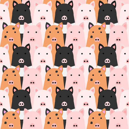 Cute pigs background Seamless colorful drawing
