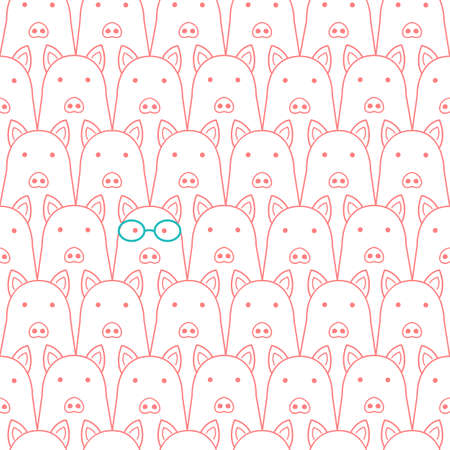 Cute pigs background Seamless line drawing