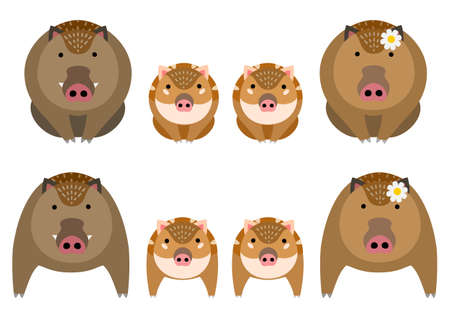 Cute boar family set 일러스트