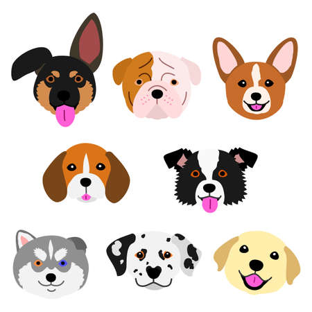 cute pups face set