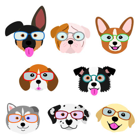cute pups face with eyeglasses set