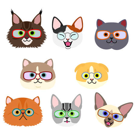 cute kitties face with eyeglasses set  イラスト・ベクター素材