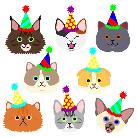 cute kitties face with party hat set