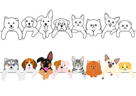 cute puppies and kitties border set 免版税图像 - 107559055