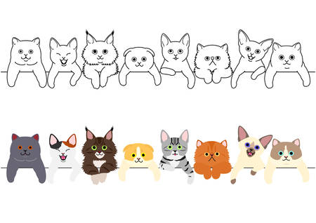cute kitties border set Illustration