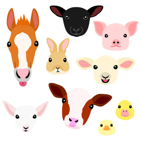 cute farm animal babies face set