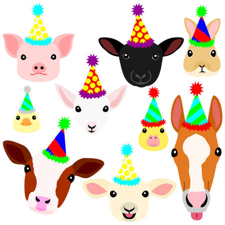 cute farm animal babies face with party hat set  イラスト・ベクター素材