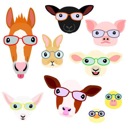 cute farm animal babies face with eyeglasses set