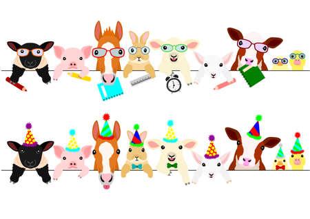 Bordure mignonne de bébés animaux de ferme sertie d'articles d'école et de chapeaux et cravates de fête