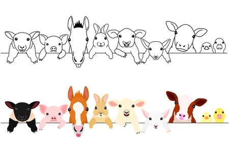 ładny zestaw granic zwierząt gospodarskich Ilustracje wektorowe