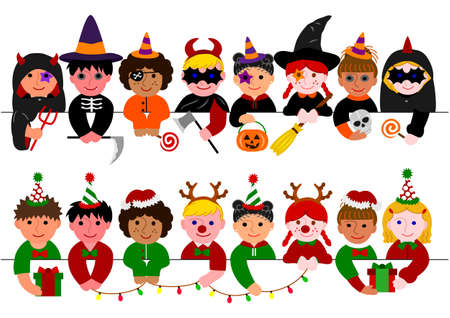 cute boys and girls border set with Halloween costumes and with Christmas costumes