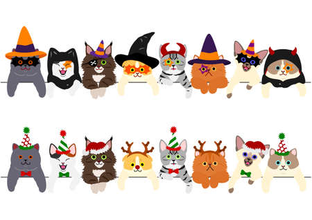 cute kitties border set with Halloween costumes and with Christmas costumes
