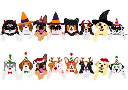 met Halloween-kostuums en met kerstkostuums, schattige pups grens set