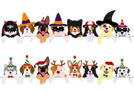 with Halloween costumes and with Christmas costumes, cute pups border set 版權商用圖片 - 108235547