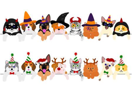 schattige puppy's en poesjesgrens bezet met Halloween-kostuums en met kerstkostuums Vector Illustratie