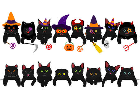 cute black kitties border set with Halloween costumes  イラスト・ベクター素材