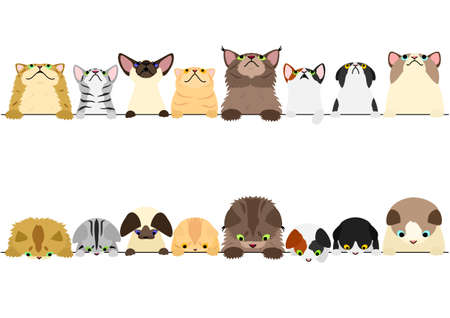 cute cats looking up and down border set  イラスト・ベクター素材