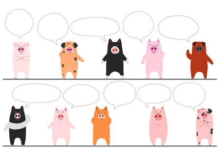 funny pigs border with speech bubbles  イラスト・ベクター素材