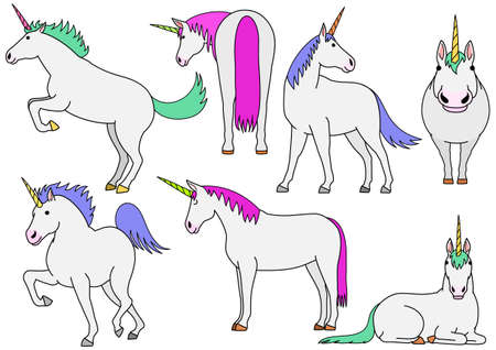 cute unicorn doodle drawing set