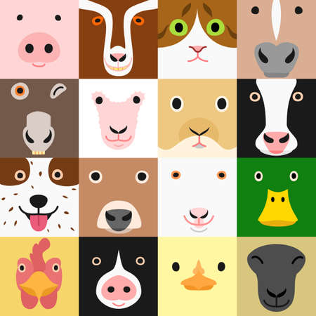set  of funny farm animals face