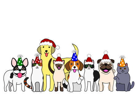 cute dogs and cats group with party hat