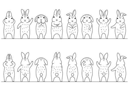 cute rabbits border set