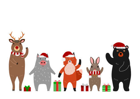 cute woodland animals group with Christmas accessories
