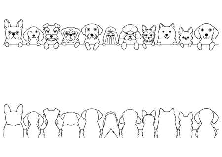 border set dogs, small dogs, front side and back side  イラスト・ベクター素材