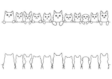 cats border set, front side and back side 向量圖像