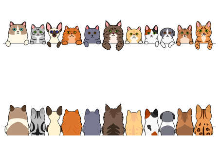 cats border set, front side and back side Illustration