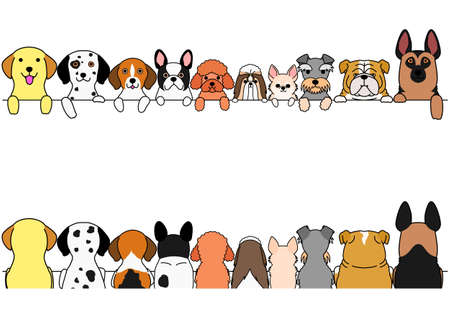 dogs border set, small and large dogs, front side and back side  イラスト・ベクター素材