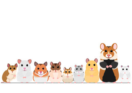 hamsters in a row  イラスト・ベクター素材