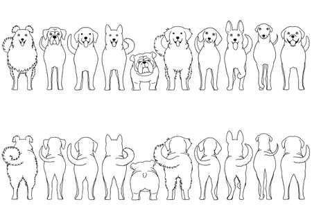 conjunto de borde de arte lineal de raza de perros Ilustración de vector