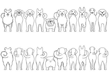 dogs breed line art border set