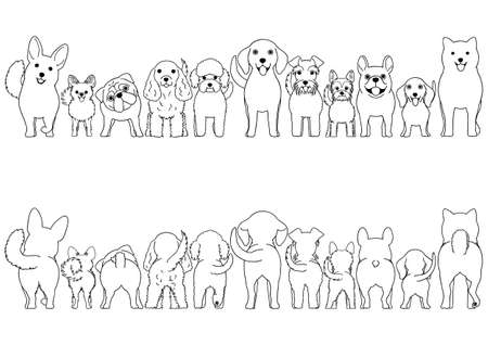 small dogs line art border set