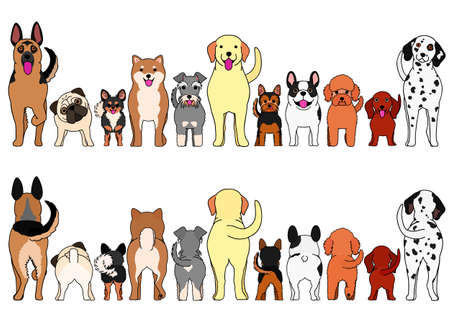 large and small dogs border set Stock Illustratie