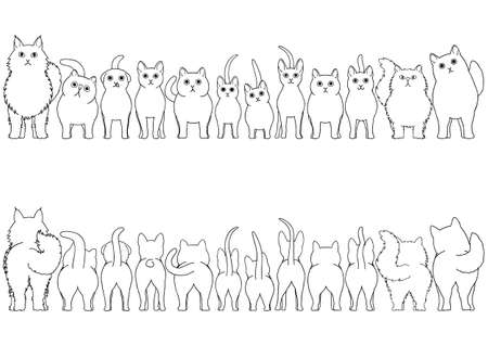 cats border line art set