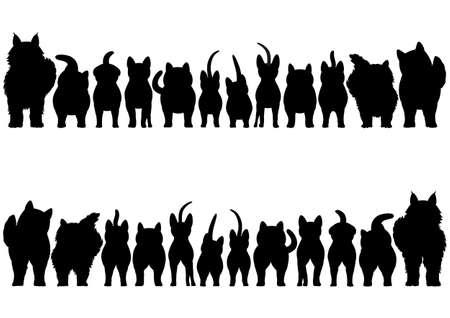 cats silhouette border set