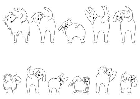 line art Set of funny dogs showing their butts  イラスト・ベクター素材