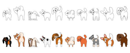 Set of funny small dogs showing their butts Illustration