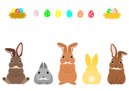 Easter bunnies and colorful eggs