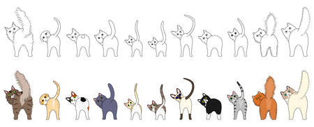 Set of funny cats showing their butts Illustration