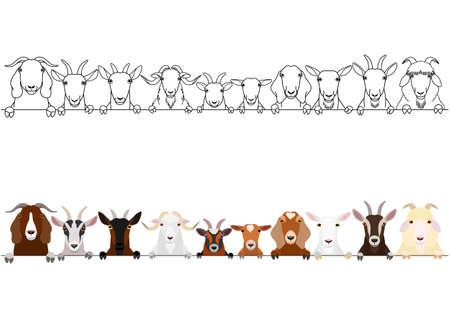 conjunto de borde de varias cabezas de cabras Ilustración de vector