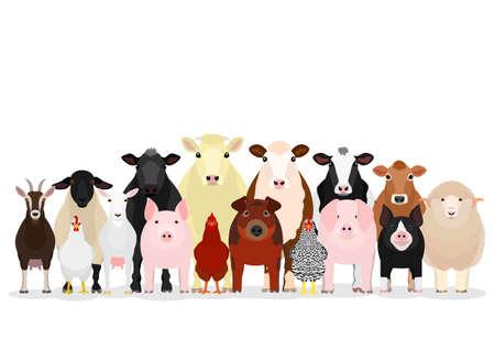 various livestock group  イラスト・ベクター素材