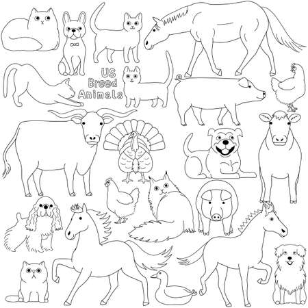 doodle of US breed domestic animals Illustration