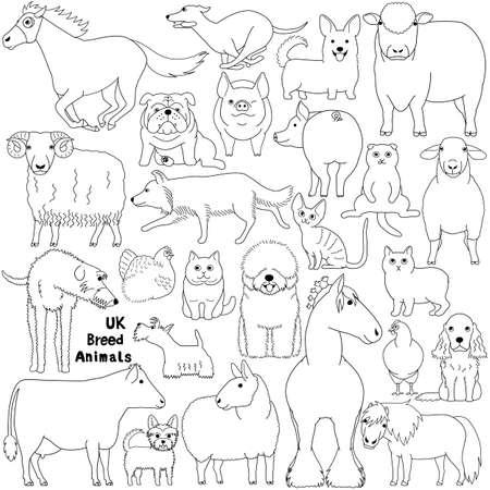 line art doodle of UK breed domestic animals