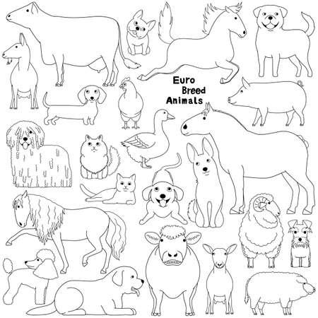 Doodle de animales domésticos de raza europea