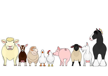 cute cartoon farm animals in a row